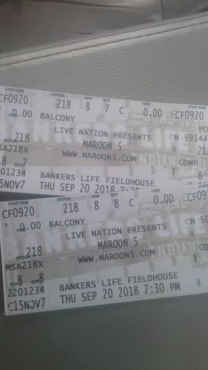 Maroon5 at bankers life on September 20 sec. 218 row 8 seat 7&8 for Sale in Fort Wayne, IN