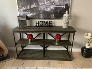 Rustic farmhouse tv stand entryway entry table shelves entertainment center for Sale in Peoria, AZ