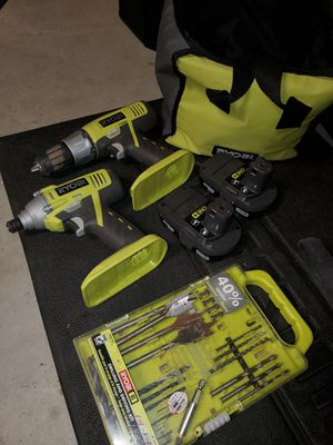 Ryobi Drill Set with 2 batteries and driving kit for Sale in Fresno, CA