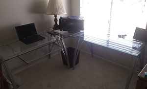 3 piece Glass office set with glass keyboard for Sale in Encinitas, CA