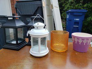 Lanterns, small flower pot, orange candle holder decor for Sale in Falls Church, VA