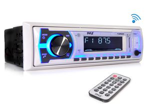 Pyle Marine Bluetooth Stereo Radio - 12v Single DIN Style Boat In dash Radio Receiver System with Built-in Mic, Digital LCD, RCA, MP3, USB, SD, AM FM for Sale in Commerce, CA