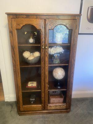 Wood Bookshelf with Glass Doors for Sale in Oak Glen, CA