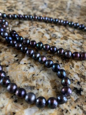 Pearls - Authentic Freshwater Black Pearl Set - Necklace and Bracelet for Sale in Conifer, CO