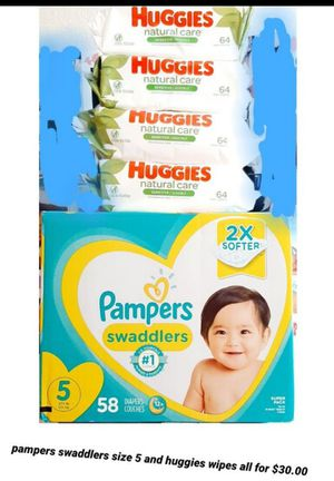 Pampers swaddlers size 5 and Huggies wipes for Sale in Los Angeles, CA