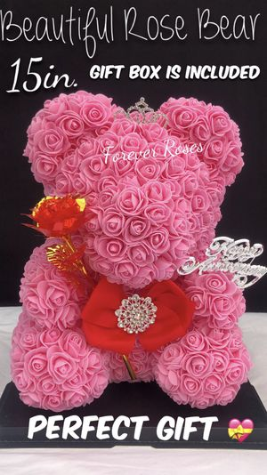 Perfect Anniversary Gift 💝 🐻🌹Rose Bear 15in Tall. Roses Are Made Out Of Foam. for Sale in South Gate, CA