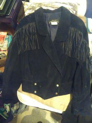 Black suede ladies fringed jacket for Sale in Bay Saint Louis, MS