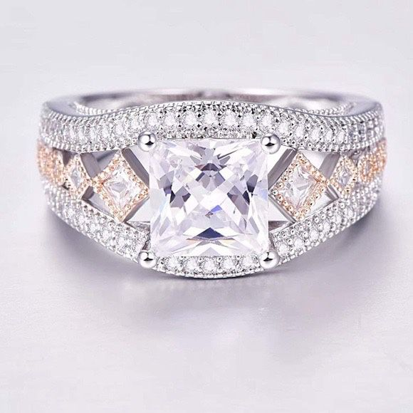 New Sizes 6 or 7 Diamond Quality White Sapphire 18k White Gold Over Sterling Silver 925 Engagement /Promise Ring