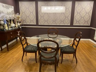 Dining Room Table With four Chairs. Buffet with Granite top. Over Size Mirror. Great Condition. Solid Cherry Wood. for Sale in Sykesville,  MD