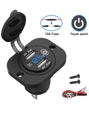 12V/24V USB Socket Outlet with Touch Switch and Digital Voltmeter, Dual 2.4A USB Car Charger with Waterproof Cover and Panel for Motorcycle ATV Campe for Sale in Anaheim, CA