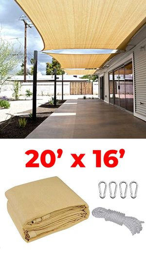 New $50 each 20x16' Rectangle Sun Shade Sail Outdoor Canopy Top Cover, Tan Color for Sale in Whittier, CA
