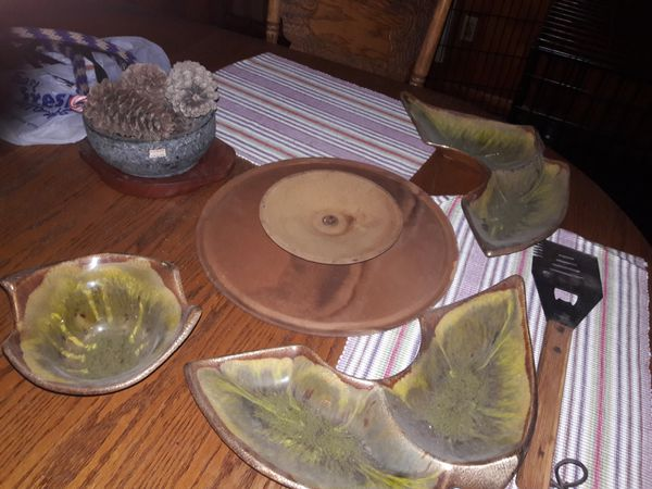 Mid Century California Pottery Snack Serving Set Lazy Susan 385 Green Gold Brown