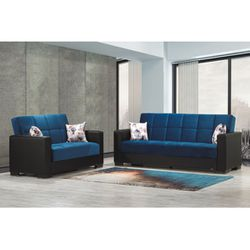 New Box Blue Velvet Sofa Loveseat Sofa Beds With Pillows for Sale in College Park,  MD