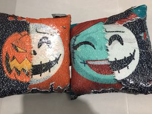 2 SEQUINED THE NIGHTMARE BEFORE CHRISTMAS PILLOWS for Sale in Peabody, MA