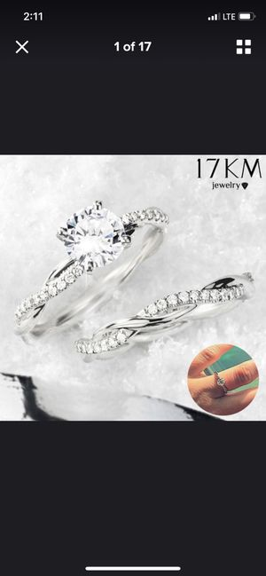 Creative Elegant Women 0.09ctw 2PCS/set Wedding Ring 925 Sterling Silver for Sale in Washington, DC