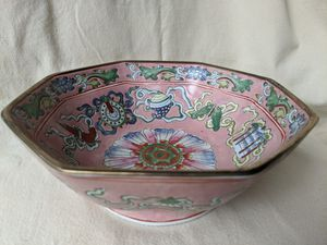 Vintage Hand- Painted Chinese Ceramic Octagonal Bowl Decorative Bowl Pink Floral for Sale in Alpharetta, GA