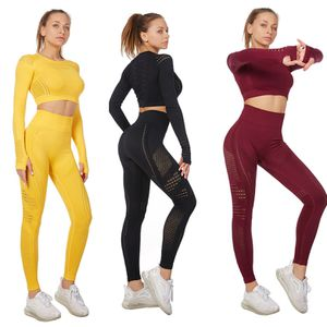 Womens Gym 2 Piece Long Sleeve Tops Legging Fitness Set Active Yoga Seamless High Waist 2 Pcs for Sale in Hialeah, FL