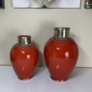 "Moroccan Ceramic Embossed Metal Vases Set. 17"" And 13.5"" for Sale in Atlanta, GA"