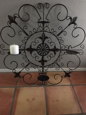 Wrought Iron Wall Decor- Candle Holder for Sale in Payson, AZ