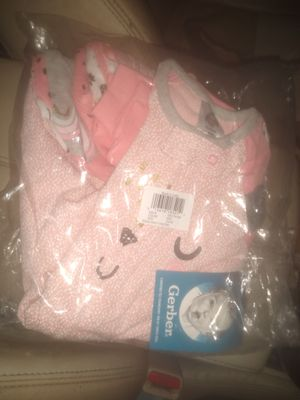Gerber baby girl size 3 to 6 months PJs and onesies never opened still in bag and tags on for Sale in Chelsea, MA
