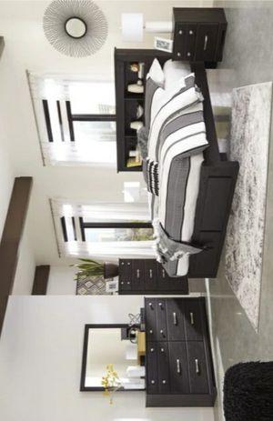 🏷Reylow Dark Brown Bookcase Storage Platform Bedroom Set for Sale in Houston, TX