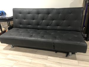 Bed Sleeper Couch- Leather, Full Size, Multiple positions, Black for Sale in Los Angeles, CA