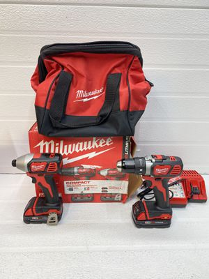 Milwaukee M18 18-Volt Lithium-Ion Cordless Drill Driver/Impact Driver Combo Kit (2-Tool) w/(2) 1.5Ah Batteries, Charger, Tool Bag for Sale in Bakersfield, CA