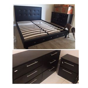 New queen bed frame dresser and nightstand mattress is not included for Sale in Lake Worth, FL