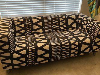 IKEA RETRO BLACK AND OFF WHITE KLIPPAN LOVESEAT for Sale in Austin,  TX