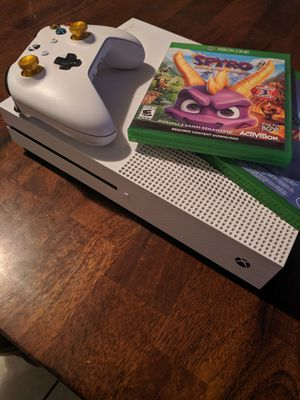 Xbox one s. 1 custom controller and 2 games. All connections. 2 juegos y un control. TRADE for ps4 slim bundle or cash. for Sale in Phoenix, AZ