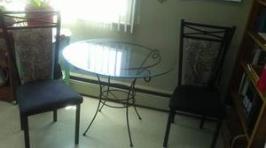 Glass dining table with 3 chairs. Large metal desk. for Sale in Denver, CO