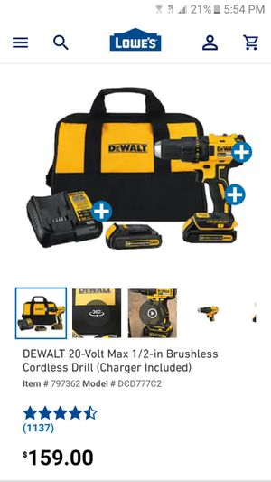 Dewalt 20v max 1/2 brushless cordless drill with charger n battery everything in picture for Sale in Providence, RI