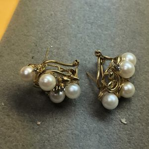 14k yellow gold pearl & diamond earrings for Sale in Baltimore, MD