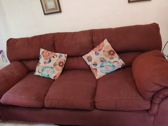 Burgundy couch with pillows for Sale in Pittsburgh,  PA