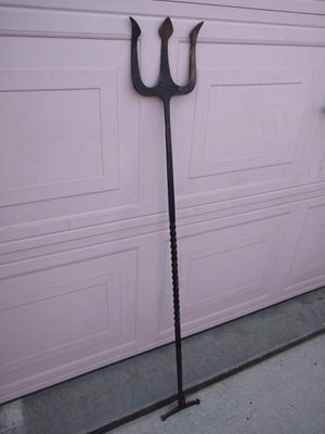 Tall Vintage Antique Metal Cast Wrought Iron Trident Fork Fireplace Coal Tool for Sale in Modesto, CA