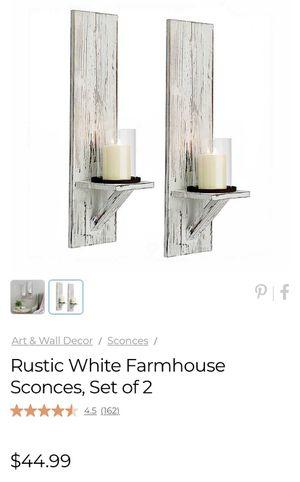 Rustic White Farmhouse Sconces, Set of 2 for Sale in Winter Garden, FL