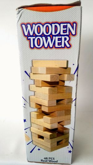 Real Wood Wooden Tower 48 Pcs Kids Game Activity Ages 3+ for Sale in Takoma Park, MD