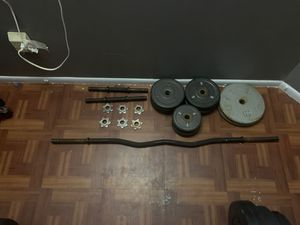 EZ Curl Bar and Dumbbell Handles with Weights for Sale in Pinellas Park, FL