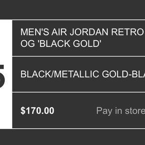 Jordan 1 Black Metallic Gold Pre order for Sale in Arlington, VA