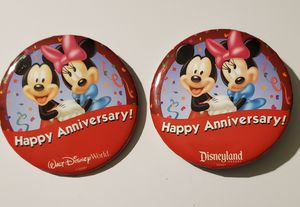 Disneyland and Disney 2 Buttons Happy Anniversary Mickey Minnie Marriage Pin for Sale in Auburn, WA