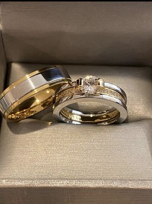 18K Gold plated Engagement/Wedding Matching Ring Set- Code KX101 for Sale in Miami, FL