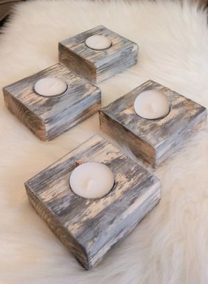 """1-1/2""""H X 3-1/2""""W X 3-1/2""""D 🌱(4 Pcs./Set) Solid Wood Tea Light Candle Holders ::: Rustic Distressed Graphic Charcoal/Silver Drop for Sale in Las Vegas, NV"""