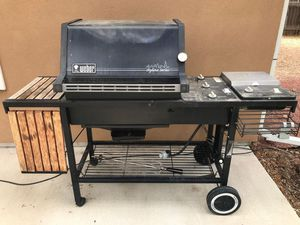 Weber Skyline Series Propane Gas Grill with Side Burner and Extendable Wood Side Table for Sale in Aurora, CO