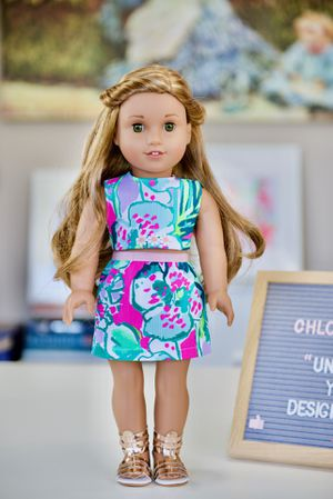 Brand new made to order hand made Lilly Pulitzer dress set for American Girl 18 inch dolls for Sale in Bellevue, WA
