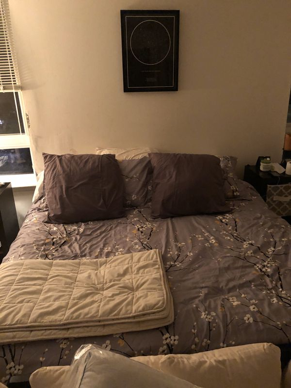 King size bed with metal frame