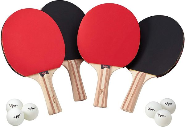 4 Table Tennis Paddles, 8 Balls and a Net