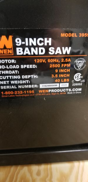 Wen 9 in bandsaw 3.5 in depth for Sale in Mesa, AZ