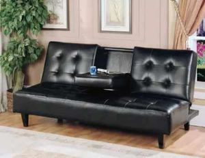 Black faux leather futon sofa bed with cupholder ( new) for Sale in San Mateo, CA