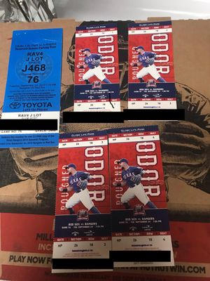 4 home plates tickect plus parking pass. Rangers vs Red Sox 9/24 for Sale in Mansfield, TX