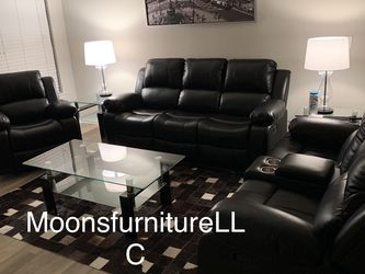3 Piece Black Sofa Set With Chrome Cupholders And Storage Compartment Ready For Delivery And Available for Sale in Marietta,  GA